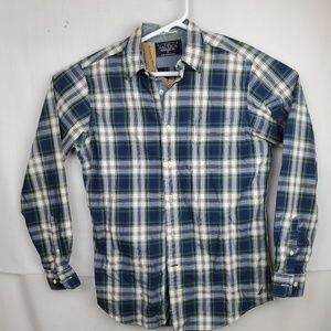 NAUTICA Men's Long Sleeve Button Up Blue White and